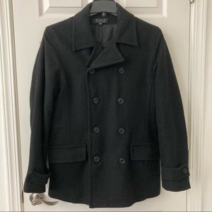 Men's Double Breasted Black Peacoat